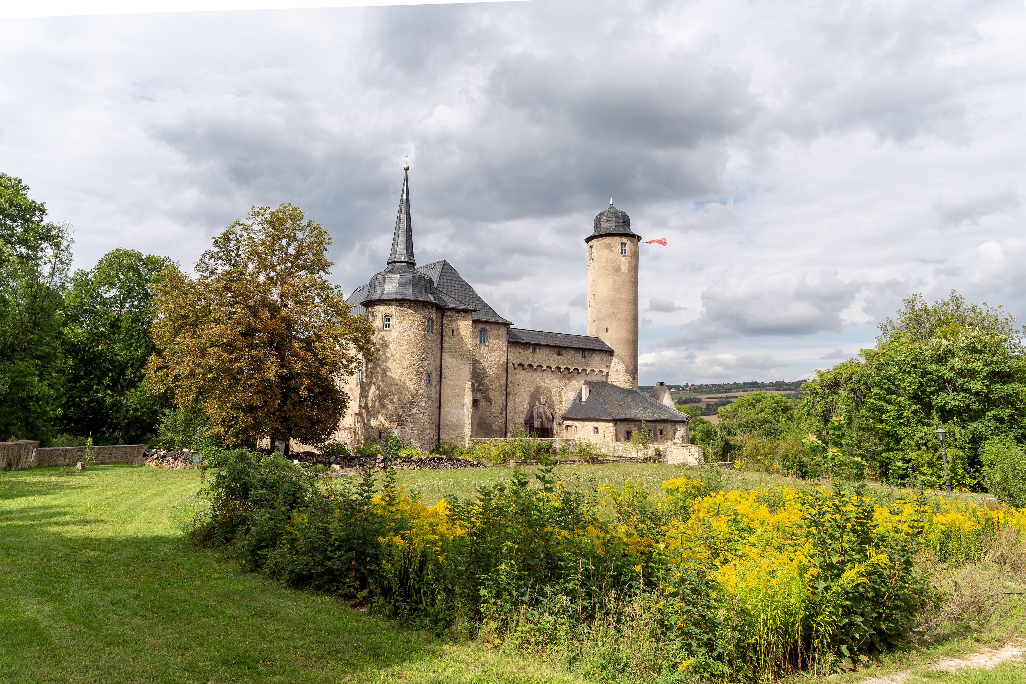 Rückseitige Ansicht eines burgänlichen Gebäudes mit verschieferten Dächern. rechts ein hoher Bergfried, links ein turmähnlicher Rundbau mit Spitze, verbunden mit Zwischenbauten, stehend in einem Park mit Bäumen, Büschen und gelben Blumen im Vordergund.