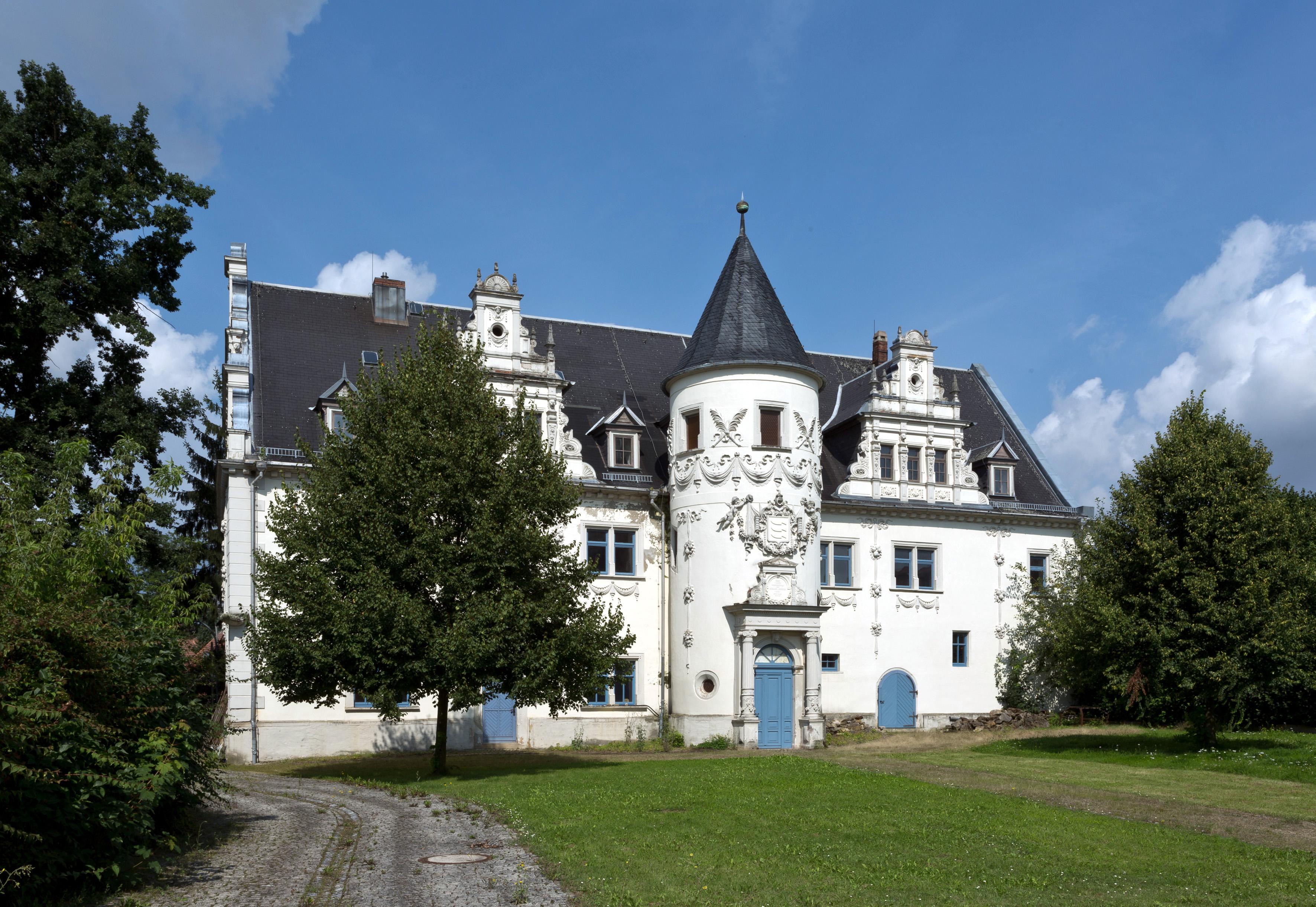 Schloss mit Turm, Verzierungen und blauen Türen, davor Wiese und zwei Bäume.