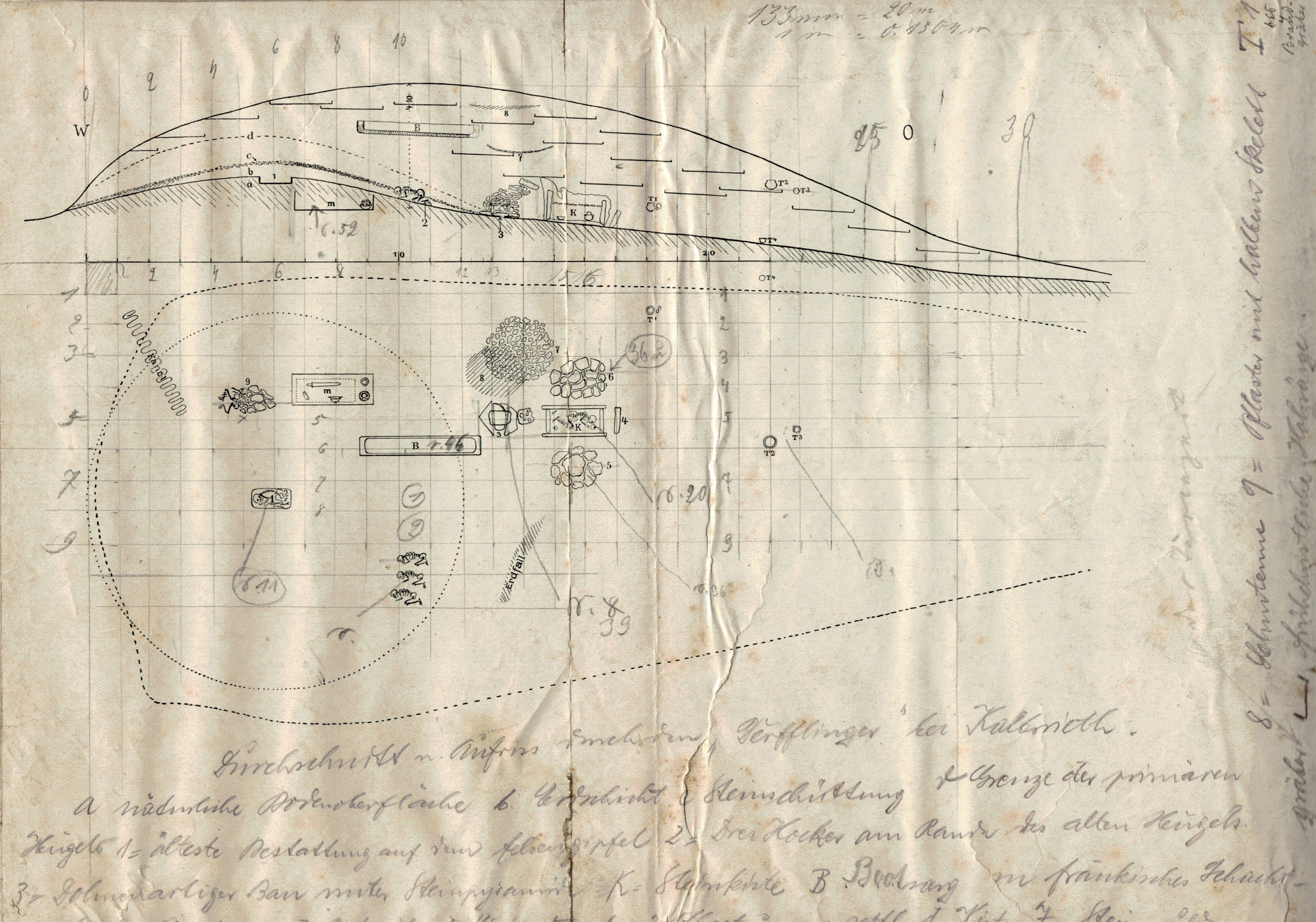 Gedruckter Plan, der den Grundriss und Aufbau eines Großgrabhügels zeigt mit handschriftlichen Ergänzungen