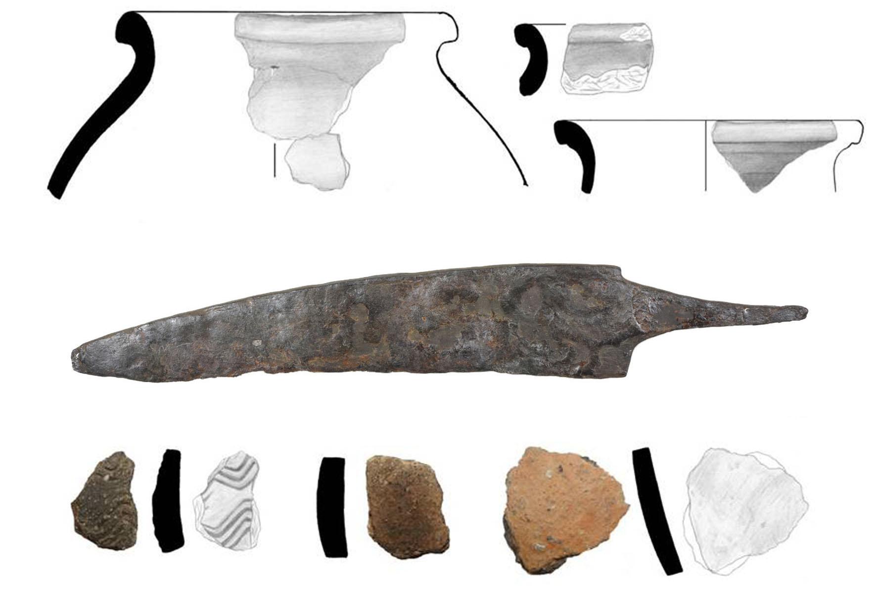 Fundzeichnungen und -fotos von Keramikscherben und Eisenmesser