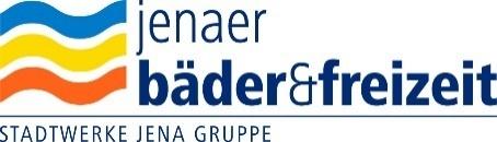 Logo der Jenaer Bäder und Freizeit der Stadtwerke Jena Gruppe, neben und über der dunkeblauen Schrift drei Wellen in blau, gelb und orange