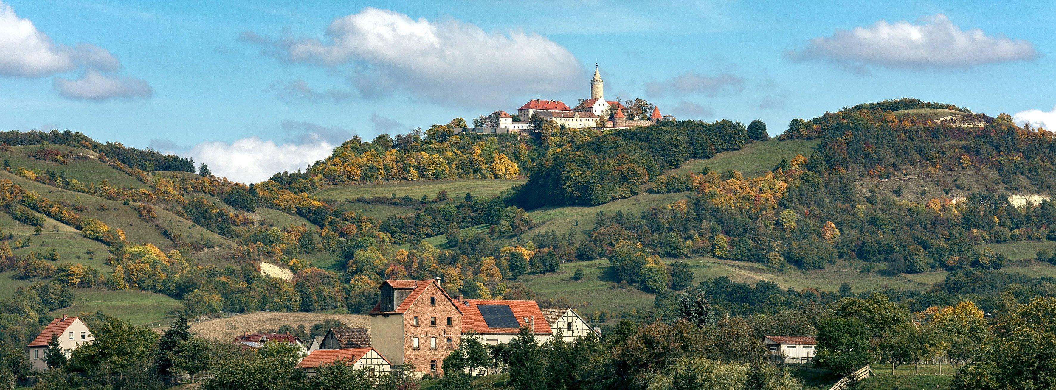 Mittelalterliche Burganlage mit Turm auf Anhöhe umgeben von Wald und Wiesen