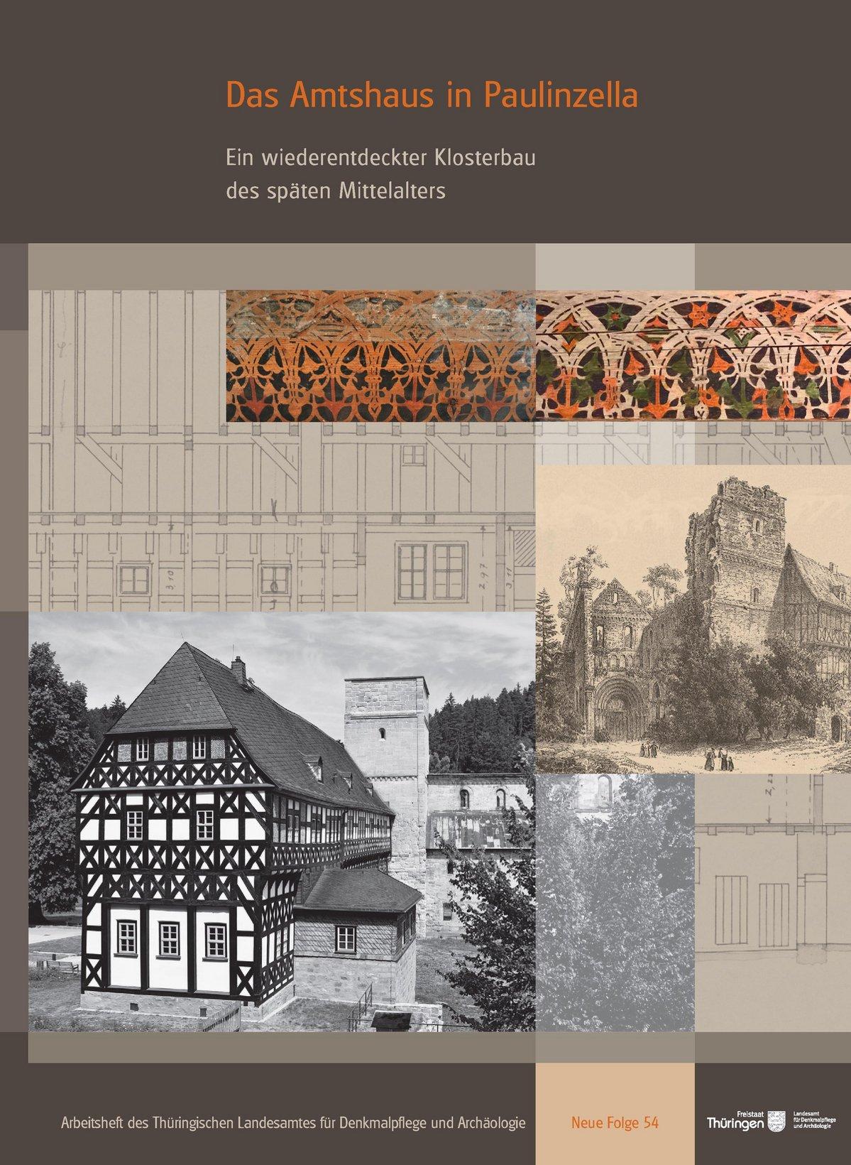 Titelbild Arbeitsheft NF 54, Schwarz-weiß Bild des Klosters Paulinzella auf braungehaltener Titelseite