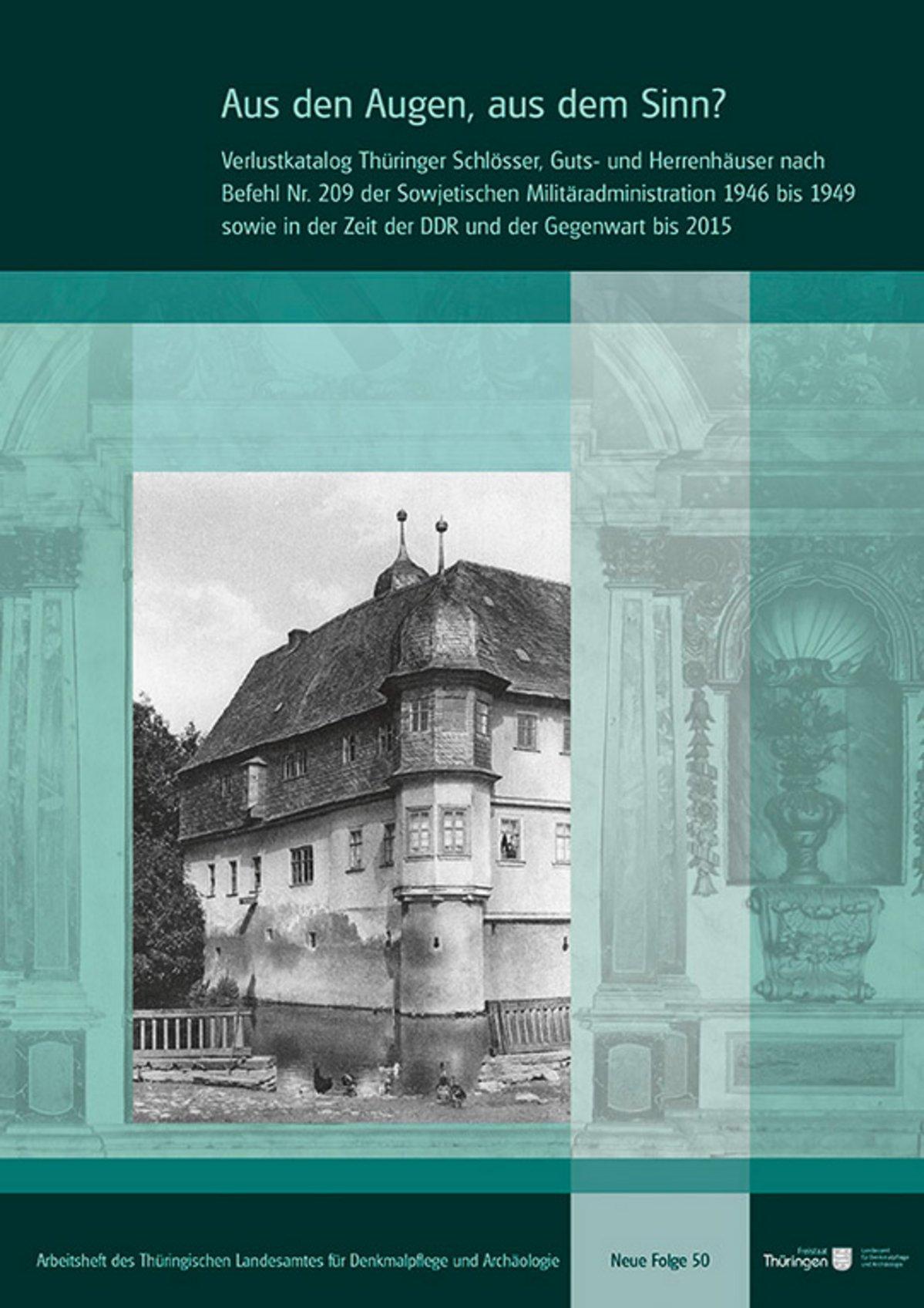 Titelbild Arbeitsheft NF 50: Schwarz-weiß Bild eines alten Herrenhauses vor ansonsten in Grüntönen gehaltener Titelseite