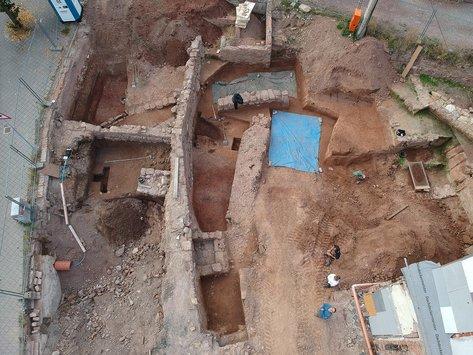 Luftbild von Ausgrabungsfläche